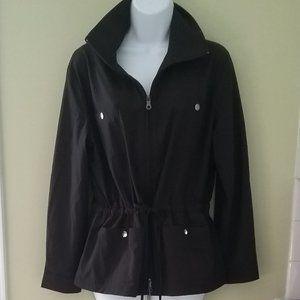 TRAVELSMITH Black Zip Up Drawstring Utility Coat